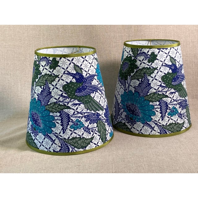 2020s Blue & White Batik Fabric Covered Handmade Lamp Shades - a Pair For Sale - Image 5 of 5