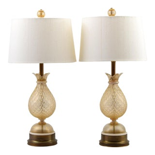 Vintage Mid Century Barovier & Toso Style Lamps- A Pair For Sale