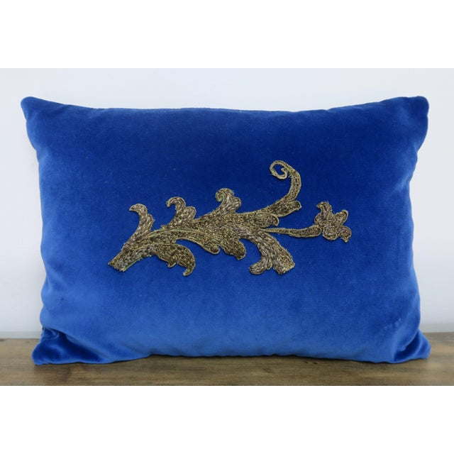 Blue Velvet Pillow With Applique For Sale In Los Angeles - Image 6 of 6