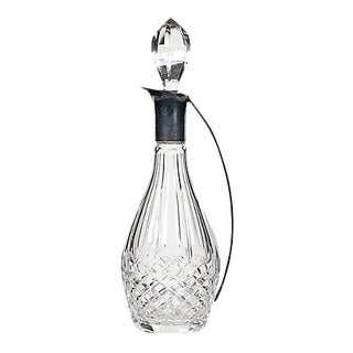 Sterling Silver Handled Glass Decanter For Sale