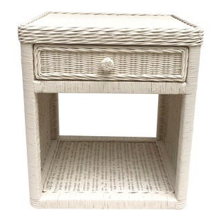 20th Century Boho Chic White Rattan Nightstand