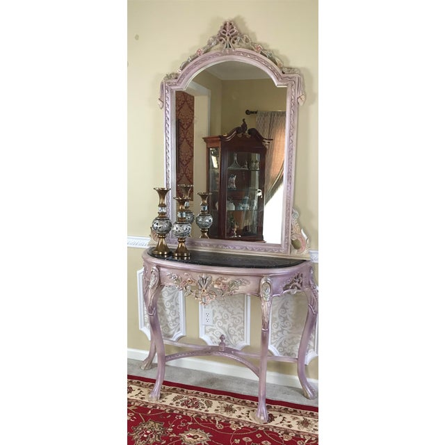 French Louis XV Beech Wood Console Table & Mirror For Sale - Image 3 of 8