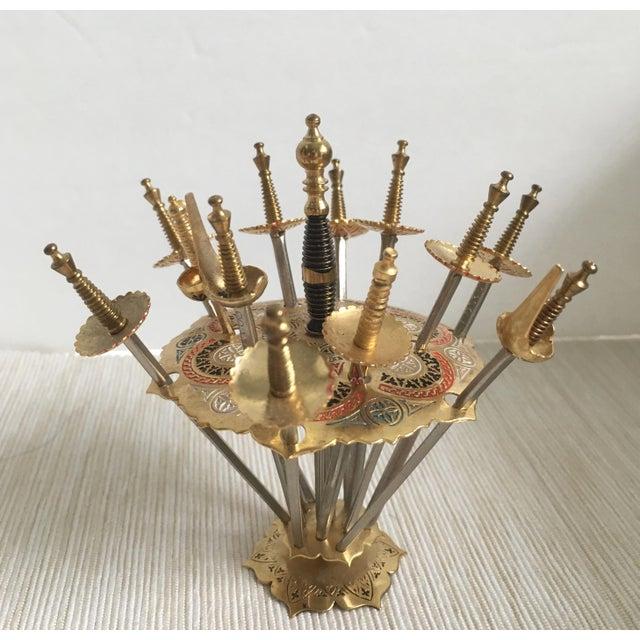 Vintage Spanish Cocktail Swords With Holder - Set of 12 For Sale - Image 4 of 4