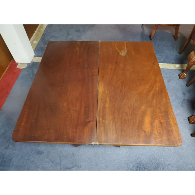 Antique Empire Style Flip Top Mahogany Game Table For Sale - Image 9 of 11