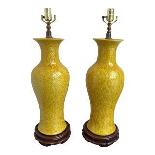 Asian Yellow Porcelain Vase Lamps - A Pair For Sale