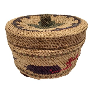 Makah Pacific Northwest Coast Native Whaling Motif Lidded Basket For Sale