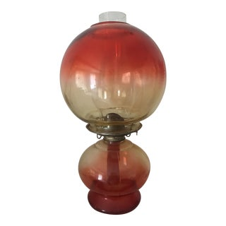 Mid-Century Modern Orange Ombré Globe Hurricane Oil Lamp For Sale