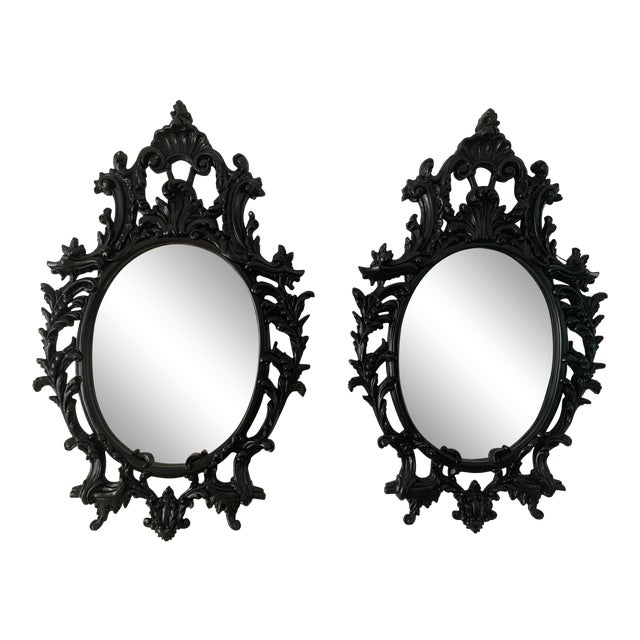 Rococo Black Lacquered Oval Mirrors - a Pair For Sale