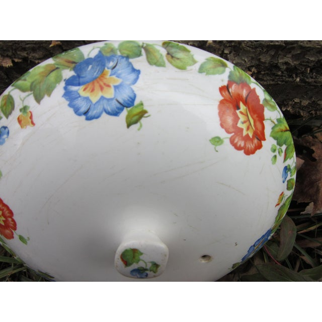 1940s Columbia Chinaware Harker Floral Baking Casserole Dish / Canister For Sale - Image 5 of 10