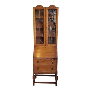 Lovely English Oak Bureau Bookcase W/ Leaded Glass C.1920 For Sale