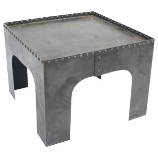 Small Square Industrial Metal Coffee Table For Sale