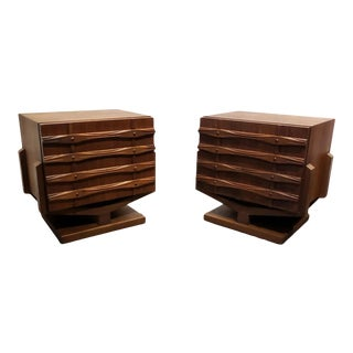 1970s Mid Century Modern Walnut Sculptural Nightstands - a Pair For Sale