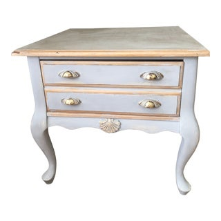 1980s French Country Bassett Painted Grey Side Table For Sale