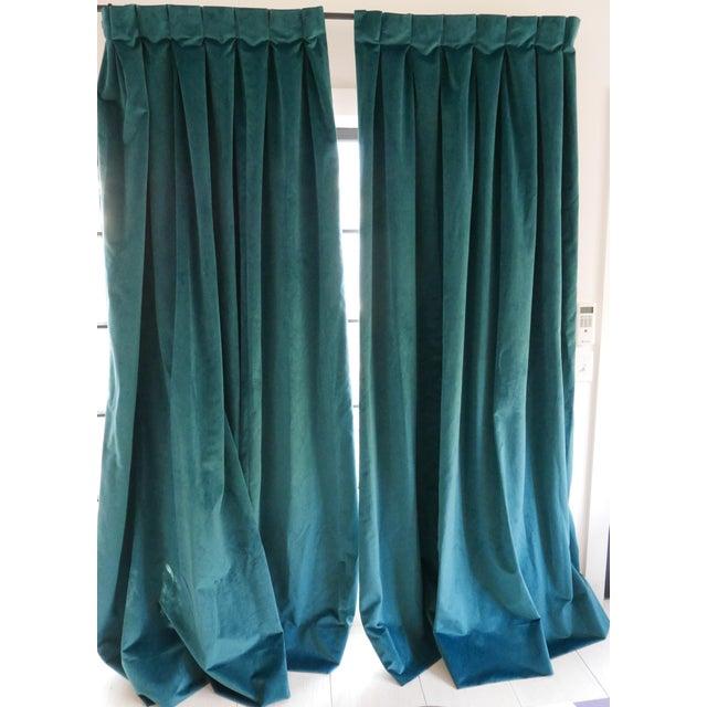 Custom Blue Green Velvet Curtains - a Pair For Sale In Charleston - Image 6 of 6