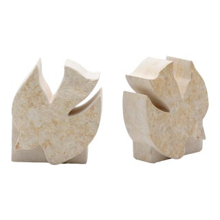 1970s Vintage Soapstone Dove Bookends- A Pair For Sale