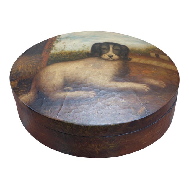 Oval, painted box with dog motif on lid. Antiqued finish with crackled texture. All painting in tact. Four legs. Handmade...