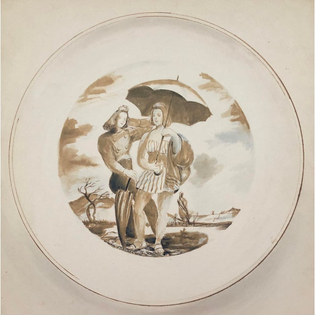Tan Two Ladies Posing the Beach, Watercolor by William Palmer, 1940 For Sale - Image 8 of 8