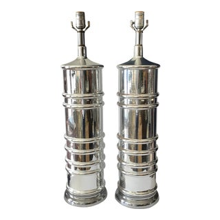 Mid Century Cylinder Mercury Glass Lamps - a Pair For Sale