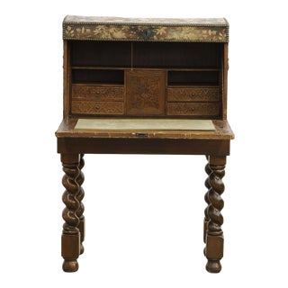 Antique Renaissance Needlework Oak and Walnut Trunk Form Secretary Desk on Stand For Sale