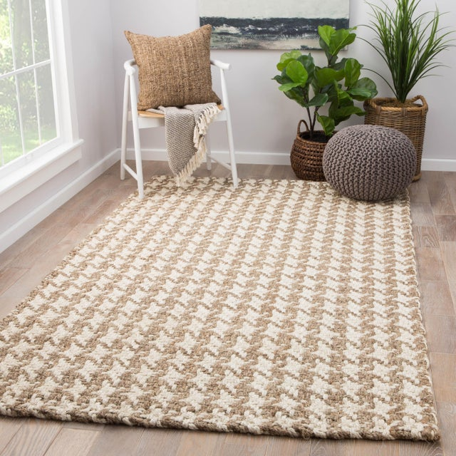2010s Jaipur Living Tracie Natural Geometric White/ Taupe Area Rug - 9′ × 12′ For Sale - Image 5 of 6