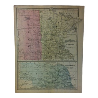 "Antique Mitchell's New School Atlas Map, ""Minnesota & Dakota"" - ""Nebraska"" by e.h. Butler & Co. Publishers - 1865 For Sale"