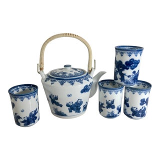 Vintage Japanese Nabeshima Porcelain Teapot Tea Set & 4 Cups Blue and White Collectible Asian Decor For Sale