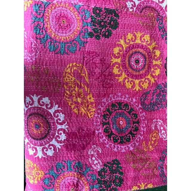 Indian Pink Kantha Blanket Throw - Image 5 of 5