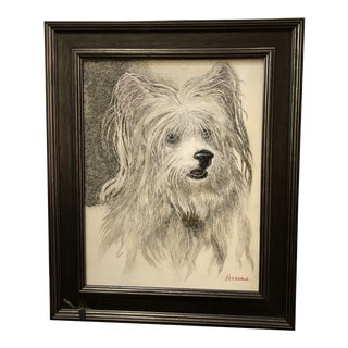 Vintage Pen and Ink on Board of Dog by Renowned Hawaiian Artist Persona For Sale
