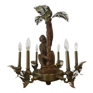 Monkey & Brass Palm Frond Leaf Six-Light Chandelier For Sale