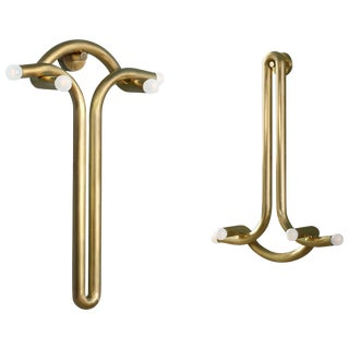 Pair of God and Goddess Brass Sconces by Paul Matter For Sale