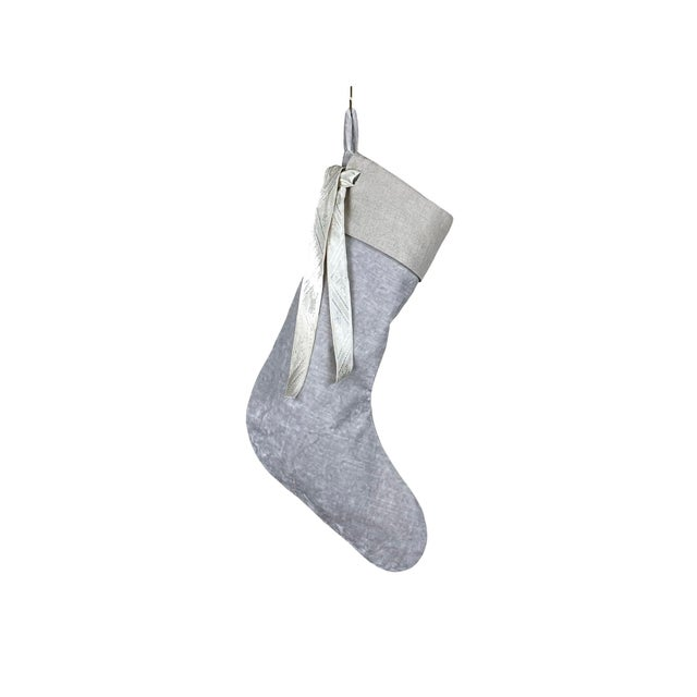 Silver Velvet Christmas Stocking For Sale In Birmingham - Image 6 of 6