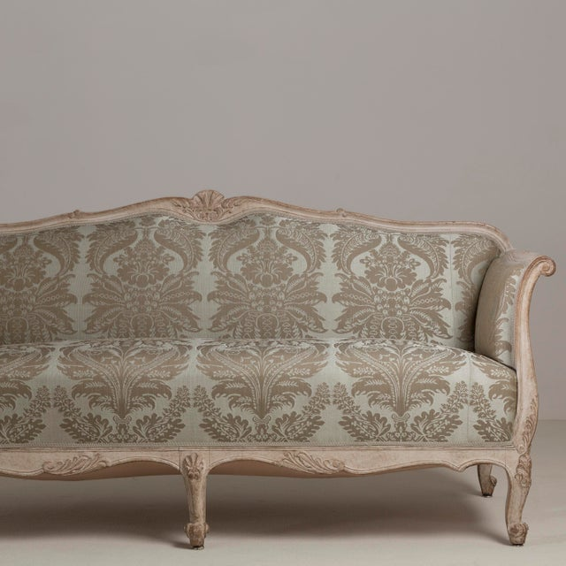 Mid-Century Modern A 19th Century Damask Upholstered Swedish Sofa, circa 1880 For Sale - Image 3 of 8