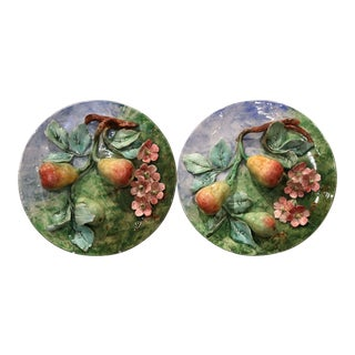 Pair of 19th Century French Hand Painted Barbotine Wall Plates Stamped Longchamp For Sale
