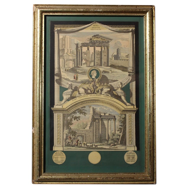 Antique copper engravings of Roman ruins, hand colored, pair from Italy.