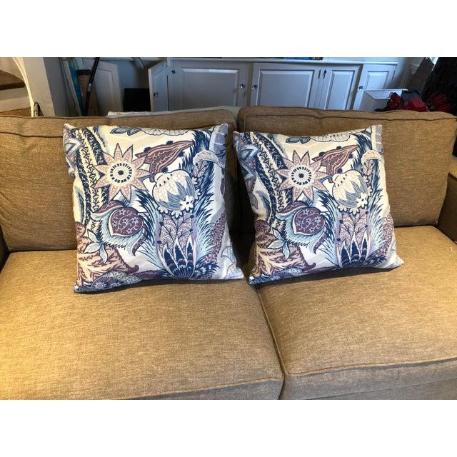 Linen Schumacher Zanzibar Hyacinth Linen Pillows - A Pair For Sale - Image 7 of 7