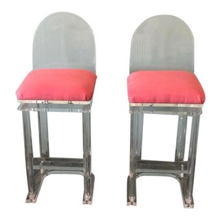 Vintage Modernist Custom Lucite Barstools - a Pair For Sale