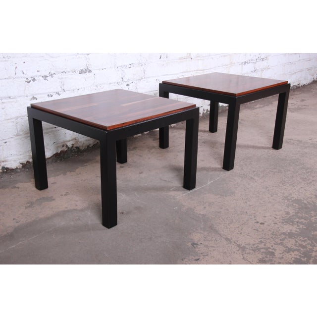 1960s Milo Baughman for Thayer Coggin Walnut and Ebonized Wood Side Tables, Newly Restored For Sale - Image 5 of 9