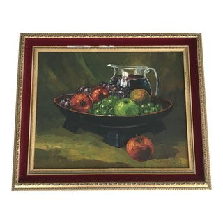 1970s Vintage Bowl of Fruit Still Life Oil Painting For Sale