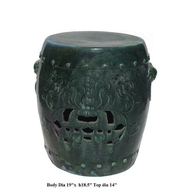 Chinese Green Round Lotus Clay Garden Stool - Image 2 of 4