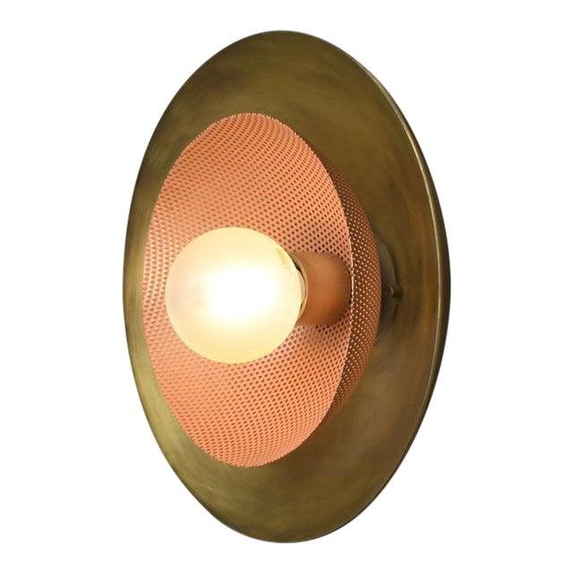 Blueprint Lighting Brass & Blush Enamel Mesh Sconce For Sale