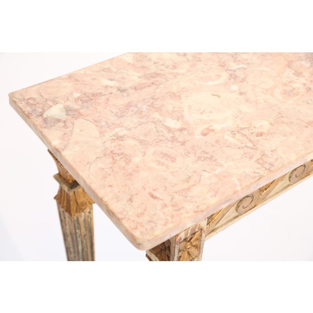 Giltwood Long and Narrow Italian Parcel-Gilt Marble-Top Console With Scrolling Wave Apron For Sale - Image 7 of 8