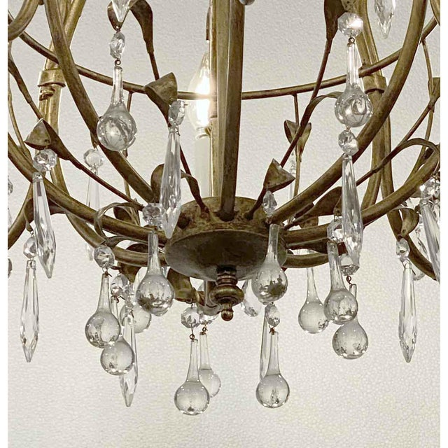Late 20th Century Florentine Style Crystal & Gilt Metal Chandelier For Sale - Image 5 of 10