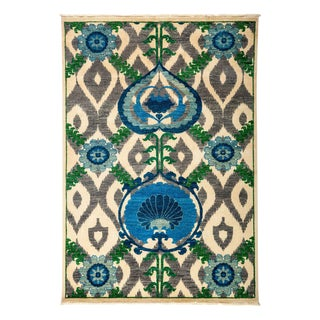 """Suzani Hand Knotted Area Rug - 4' 3"""" X 6' 1"""" For Sale"""