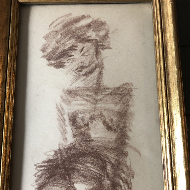 Original sepia on paper Unsigned Study Drawing 6 x 10 overall size with vintage frame is 8 x 11.5