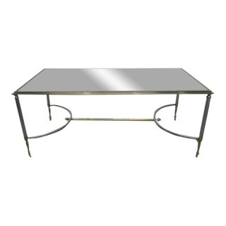 Maison Jansen Polished Steel and Brass Coffee Table For Sale