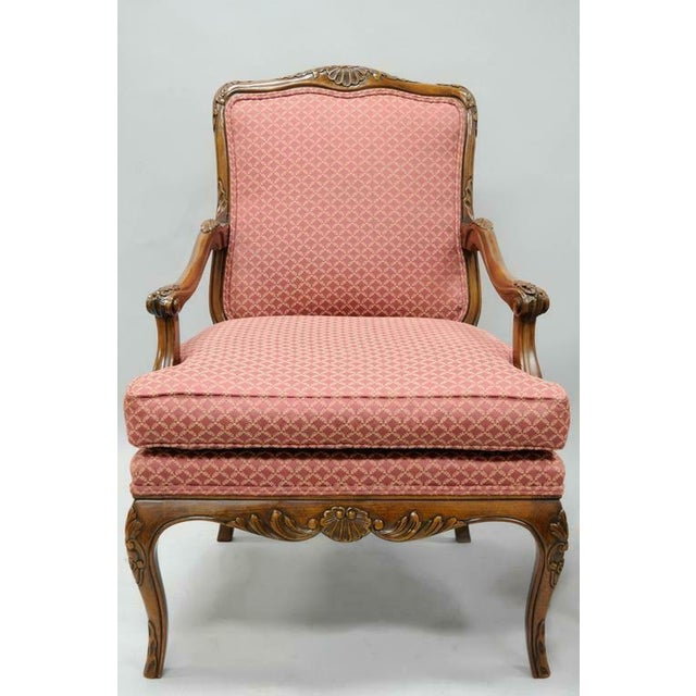 Late 20th Century Country French Louis XV Shell Carved Century Bergere Lounge Arm Chairs- A Pair For Sale - Image 9 of 10