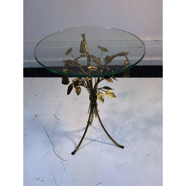 Hollywood Regency BEAUTIFUL PAIR OF ITALIAN GILT METAL FLOWER AND TASSEL FORM TABLES For Sale - Image 3 of 4