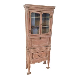 Antique 19th Victorian Curio Cabinet Secretary Desk For Sale