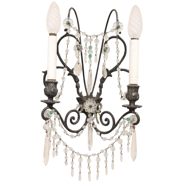 20th Century Italian Bronze and Colored Crystals Swarovski Wall Light or Sconces For Sale