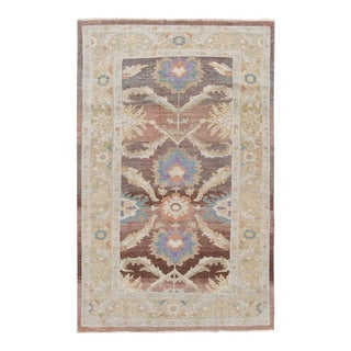 Brown Modern Floral Sultanabad Handmade Wool Rug For Sale